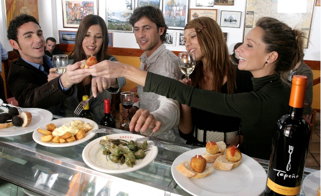 Time-for-Tapas-with-glass-of-sparkling-wine