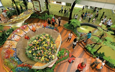 'Beautiful Gardens at Changi Airport, Singapore - Flamingo Travels